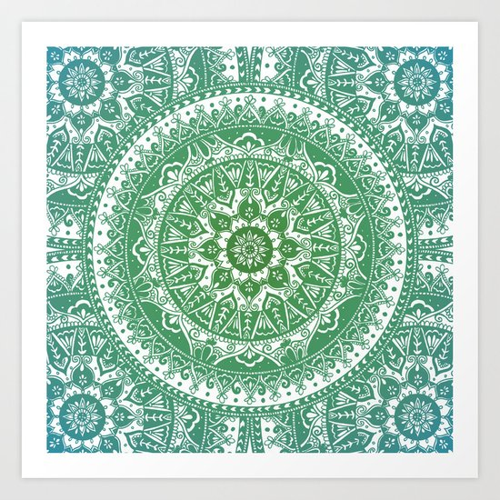 Green Mandala Pattern Art Print