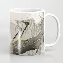 White Heron Sitting On A Tree Branch - Vintage Japanese Woodblock Print Art Coffee Mug