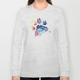 Dog Paw - Watercolor Painting - Pet Art Long Sleeve T-shirt