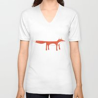 mr fox V-neck T-shirts featuring Mr Fox by Nic Squirrell