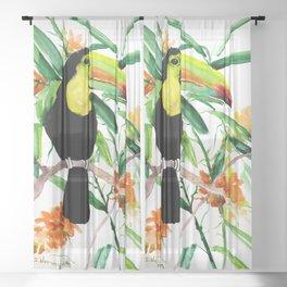 Toucan, Tropical Art, tropics Sheer Curtain