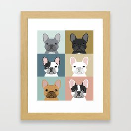 French Bulldog portraits pattern dog person gift love animal pet puppy frenchie bulldog valentines Framed Art Print