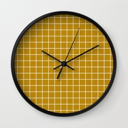 Dark goldenrod - brown color - White Lines Grid Pattern Wall Clock