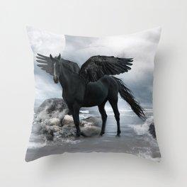 Black Pegasus Throw Pillow