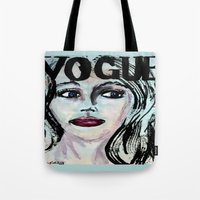 vogue Tote Bags featuring Vogue by Kayla Bortolotto