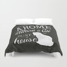 Home with Cat Duvet Cover