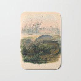 Vintage Scientific illustration, c. 1880 (Manatees) Bath Mat