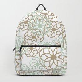 Green & Brown Floral Pattern Backpack