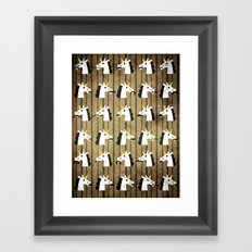 Moustaches and a Monocle Unicorn Framed Art Print