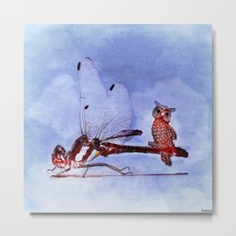The dragonfly and owls Metal Print