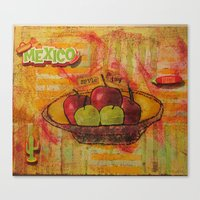 mexico Canvas Prints featuring mexico by Penny Stone Mixed Media