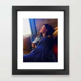 Girl drinking wine in Napa Valley wine country Framed Art Print