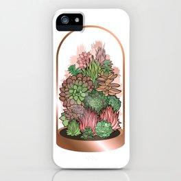 Succulent Terrarium in Rose Gold iPhone Case