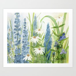 Watercolor Botanical Garden Flower Wildflower Blue Flower Garden Art Print
