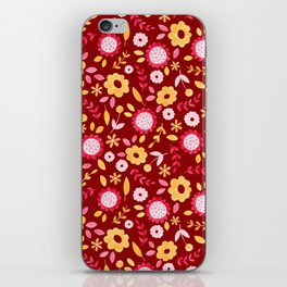 Autumn floral - red iPhone Skin
