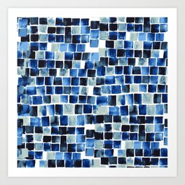 Indigo Blue Watercolor Check Art Print