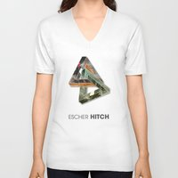 escher V-neck T-shirts featuring escher hitch by Vin Zzep