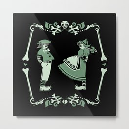 Dutch Sugar Skull Couple Metal Print