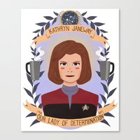 heymonster Canvas Prints featuring Kathryn Janeway by heymonster
