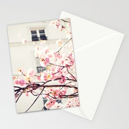 Cherry blossoms in Paris, Facades Stationery Cards