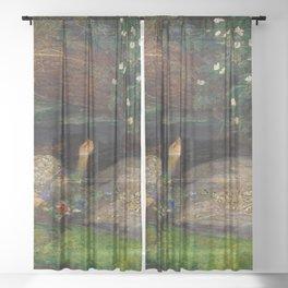 Ophelia, John Everett Millais Sheer Curtain