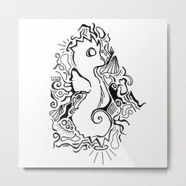 Seahorse Lineart Metal Print
