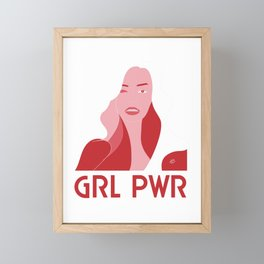 GRL PWR #girlpower #illustration #portrait #abstract #beauty #feminism #pink #buyart #society6 #art Framed Mini Art Print