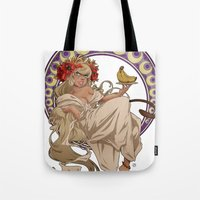 mucha Tote Bags featuring Mucha Homage by Muy-Mal