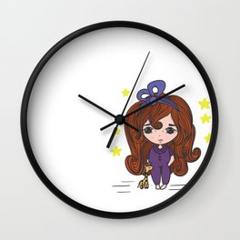 Cute little girl with tiny giraffe toy Wall Clock