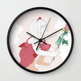 Little girl loves flowers Wall Clock