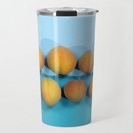 Ripe apricots on a blue background Travel Mug
