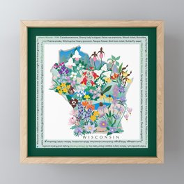 Wisconsin Wildflowers with border Framed Mini Art Print
