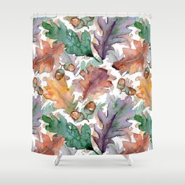 Colorful Watercolor Oak And Acorn Pattern Shower Curtain