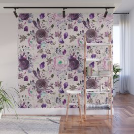 Country chic pink lavender violet watercolor floral Wall Mural