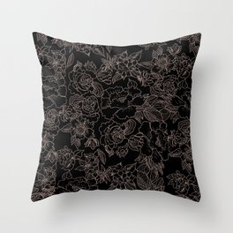 Pink coral tan black floral illustration pattern Throw Pillow