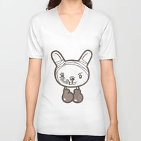 boxing V-neck T-shirts featuring Boxing Bunny by pencilplus