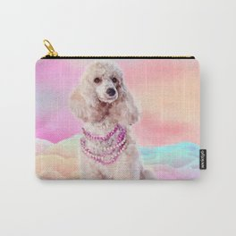 Watercolor digital art Poodle with flowers Carry-All Pouch