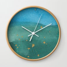 Gold on green and blue Wall Clock