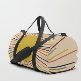 Mid-Century Modern Sunburst - Minimalist Abstract Sun in Mid Mod Mustard, Orange, Olive, Blue, and Beige Duffle Bag