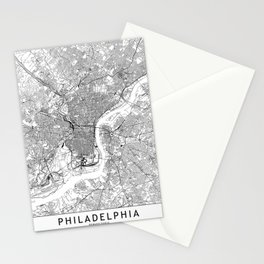 Philadelphia White Map Stationery Cards