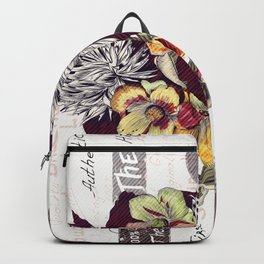Beautiful illustration with peony flowers in vintage style Backpack