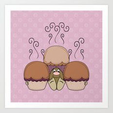 Cute Monster With Orange And Pink Frosted Cupcakes Art Print