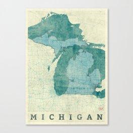 Michigan State Map Blue Vintage Canvas Print