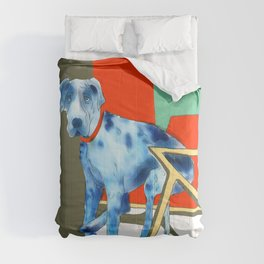 Great Dane in Chair #1 Comforters