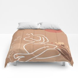 Woman in Nature Illustration Comforters