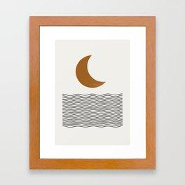 Moon by the ocean Framed Art Print