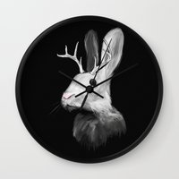 jackalope Wall Clocks featuring Jackalope by Adam Dunt