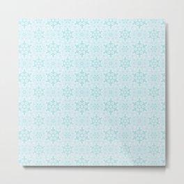 Aqua Snowflake Pattern Metal Print