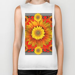 RED-GREY DECO YELLOW SUNFLOWERS MODERN ART Biker Tank