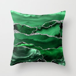Glamour Emerald Bohemian Watercolor Marble With Silver Glitter Veins Throw Pillow